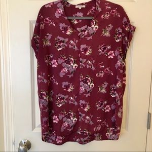 Pleione short sleeve blouse floral burgundy
